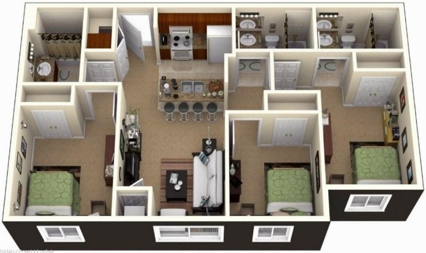Denah Rumah 3 Kamar Tidur Kembar